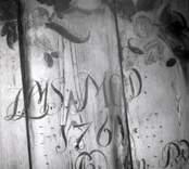 Väggmålning i bod från Sörebo. A. G. Wadstens signatur.