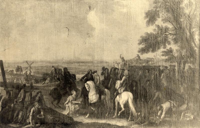 Landskapsmaleri med mennesker og hester. (Foto/Photo)