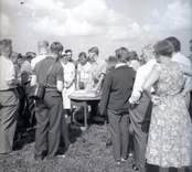 En folksamling vid en arkeologisk utgrävning vid Skedemosse 8/8 1960.