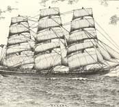 """Dharwar  Fullriggare, 1400 br. ton. Byggd 1863 i Belfast. Kolonialclipper. Såld 1897 till Oskarshamn, J. E. Hagströms rederi. Därifrån c:a 1900 till Gävle, och 1909 till Italien, där den upphöggs 1910. Teckn. av J. H. Götherström. Se """"Vår gamla segelflotta"""", I, Oskarsh. Tidn. 23.3.1934."""