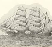 """Barkskepp,(tidigare fullriggare), 706 nettoton. Byggd 1866 i Liverpool som atlantclipper. Inköpt till Oskarshamn 1898 av C.J.Sandells rederi. Befälhavare bl.a. Rikard Juhlin. Ca 1908 såld till Norge. Torpederad 1917. Teckning av J.H.Götherström. Se """"Vår gamla segelflotta"""", XV, Oskarshamns- Tidningen 11.1.1935."""
