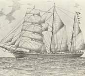 """Lilly  Skon.skepp, 280 br.ton. Byggd 1868 i Grimstad (""""Freidig""""). Köptes 1897 till Oskatshamn av AB Petré & Co. och döptes till Lilly. Bef.hav. bl.a. P.E. Rolff. Såld 1912 till Finland, och upphuggen efter Världskriget.  Teckn. av J.H. Götherström. Se """"Vår gamla segelflotta"""", X, Oskarsh. Tidn. 28.9.1934."""