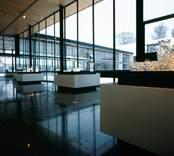 Golv av flammig ölandssten med fossil i nya utställningshallen vid Orrefors Glasbruk.  AB Ölandssten.