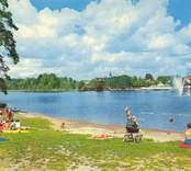 Vykort från Nybro med motiv av Linneasjön