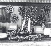 Handelsträdgården drevs vid denna tid av trädgårdsmästare Thalén, som här visar de kransar som var beställda till Johan Albin Hallbergs begravning.