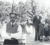 Till vänster: Berthold Nilsson, född 1913-08-05. Till höger: Familjen Ivar Johansson. Ivar Johansson, född 1897-05-09 död 1964-01-04. Makan Tora, född 1901-03-05 död 1972-02-09. Swea, född 1926-08-16 gift Karlsson.  Sten, född 1930-04-06.