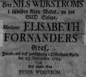 Fanfar vid Nils Wijkströms hustrus grav, Döderhults kyrka 23/11 1762.