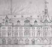 Ritning, affärs och bostadshus 1896.