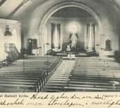 Vykort föreställande interiör av Madesjö kyrka.
