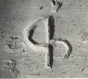 Ett bomärke inristat i Loftahammars kyrka.