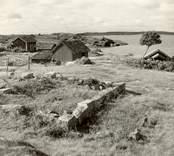 Motiv från Väderskär.   I förgrunden husgrunden till ett till Grindö flyttat hus. Tillhörande bodar förvärvade av närboende Isak Andersson.