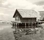 Motiv från Väderskär.  Tidemans stuga och småbodar i norra delen av byn.