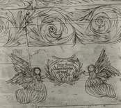 """Takmålning i kapellet i Väderskär. """"Låfwer honom I hans dråpeliga gärningar"""", ett citat från Psaltaren. Byggt 1590 och flyttat till platsen 1615.  """"Kapellet är ett lågt timmerhus med ett stort vapenhus med dörr i väster. Det är knuttumrat med inklädda knutar, klätt med stående panel troligen på 1700-talet. I inredningen, som är helt av trä, finns enkla rakryggade bänkar där det på flera platser finns inskurna bomärken. Altaret är ett enkelt, framtill klätt bord som även tjänar som predikstol. Väggar och tak är till största delen målade och målningarna är av två slag. En enklare typ av målning i allmogestil finns huvudsakligen i tak och gavlar. De framställer bla en Golgatascen, änglar, skepp mm och är daterade 1740. Övriga delar av kapellets innerväggar panelades förmodligen 1738 med redan förut målade brädor. Bland dessa kan bla urskiljas Kristi dop, Kristi uppståndelse mm. Numera utnyttjas kapellet till sommargudstjänster och bröllop bla. Genom länsstyrelsens beslut 1980 blev det ett byggnadsminne.""""  (hämtat från Nationalencyklopedin.)"""