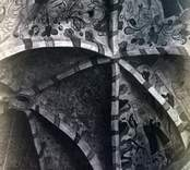 Dalhems kyrka innan 1874. Mellan kyrkan med pelaren. Bågen öppnar sig mot Fagradalskyrkan. Renässansmålningar i valven.