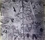Dalhems kyrka innan 1874. Renässansmålningar i valven.