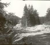 Arbete pågår med att anlägga en väg i Hjorted.