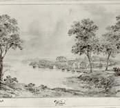En teckning från 1806 med motiv från Vinö säteri och skärgården.