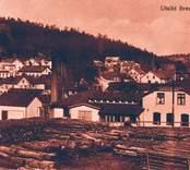 Vy över Gamleby med Cornelius träindustri i förgrunden.