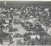 Flygfoto med vy över det centrala Oskarshamn.