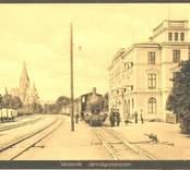 Järnvägsstationen i Västervik sekelskiftet 1900.