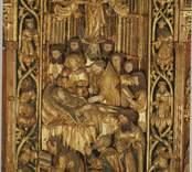 Scen ur altarskåp från Lofta kyrka, Småland, utfört omkring 1510 av Jan de Molder i Antwerpen. Altarskåpet förvaras sedan 1967 i Historiska Museet, Stockholm.