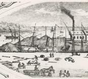 Varvet i Oskarshamn. Detalj ur bild i mekaniska verkstadens katalog omkring 1860.