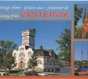Vykort med motiv av gamla varmbadhuset i Västervik.