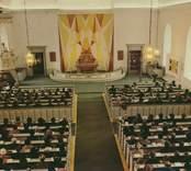 Vykort med pågående gudstjänst i Gamleby kyrka.