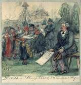 "Akvarell av Fritz von Dardel. ""Artur Hazelius, Skansens skapare"" 1896."