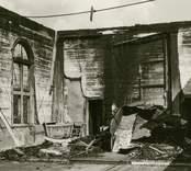Hälleberga kyrka brandskadad 1976-10-18.  Koret och altarringen. Brandorsaken var ett elfel. Altartavlan var nerplockad för renovering och klarade sig.