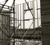 Hälleberga nya kyrka under uppförande blivande kordelen.