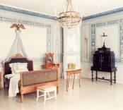 Fredriksbergs herrgård, interiör från sovrum på övervåningen, rum 129.