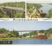 Vykort med Verkebäcksbron som byggdes av AB Armerad Betong, Kalmar, och invigdes den 5 december 1956 av landshövding Ruben Wagnsson.  Den total brolängden är 174 meter, och höjden över vattenytan 30 meter.