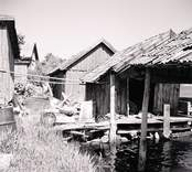 På insidan av sjöbodarna. Foto: 27/07 1955.