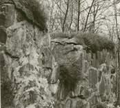 Östra väggen i sakristian till Ukna kyrkoruin efter 1977 års restaureringen.