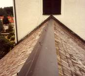 Detalj av taket på Hjorteds kyrka.