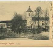"""Vykort från Hälleberga kyrka signerat: """"Minne från skidutflykten till Nybro. Torsten.""""  Helleberga kyrka 1900  Sture Ljungdahl, Nybro. Fot. Maria Hellström, Nybro."""