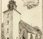 Tryck föreställande Odensvi kyrka.
