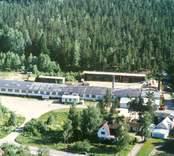 Bäckebo sågverk, med skogen i bakgrunden.
