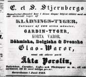 Stjernberg E.&S. manufacturhandel. Annons i tidningen hermoder 1860.