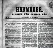 Hermoder, tidning för Kalmar Län. Detalj från framsidan 21-11-1860.