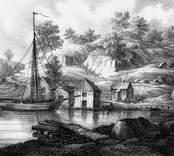 """Litografi av Mellin., från """"Sverige i teckningar"""" 1840."""