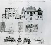 Ritning över gamla byggnaden från 1500-talet.