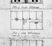 Fasad av manbyggningen på Forsby säteri, originalritning signatur J.f Oppman.