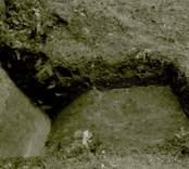Arkeologisk undersökning  Boplats C1. R.9. Profil från sydost.