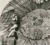 Detalj av altaruppsats, skulpterad av Johannes Berggren och målad 1766 av And G Wadsten.