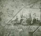 Väggmålning i Gärdslösa kyrka med bibliskt motiv från berättelsen om Kain och Abel i första mosebok.