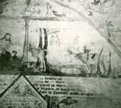 Målning i koret i Gärdslösa kyrka med motiv från berättelsen om Kain och Abel.