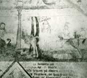 Målning i koret i Gärdslösa kyrka med motiv från bibeln.