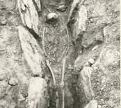 En hällkista med mänskliga kvarlevor, som påträffades vid utgrävningen av gravfältet i Störlinge.